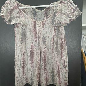 Lauren Conrad Flower Flutter Sleeve sheer blouse